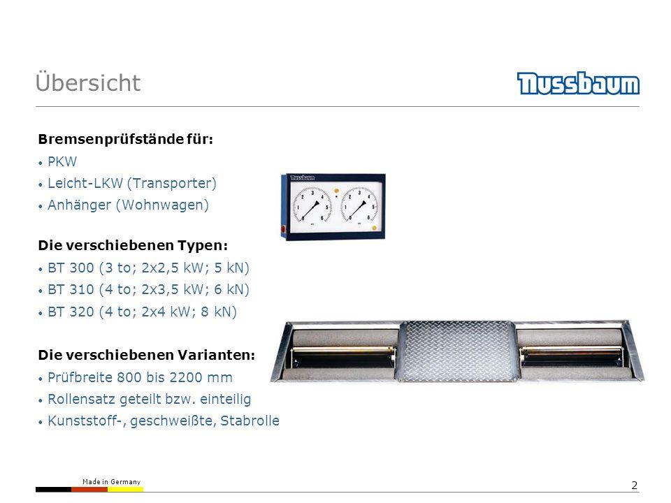 Übersicht Bremsenprüfstände für: PKW Leicht-LKW (Transporter)