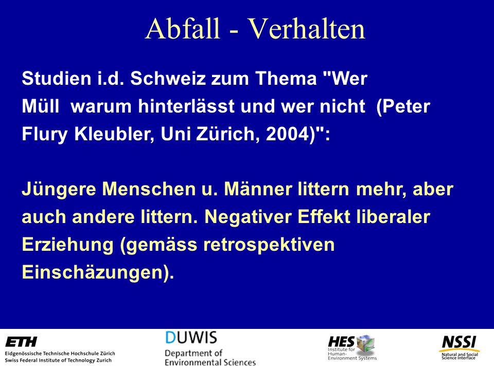 Abfall - Verhalten Studien i.d. Schweiz zum Thema Wer Müll warum hinterlässt und wer nicht (Peter Flury Kleubler, Uni Zürich, 2004) :