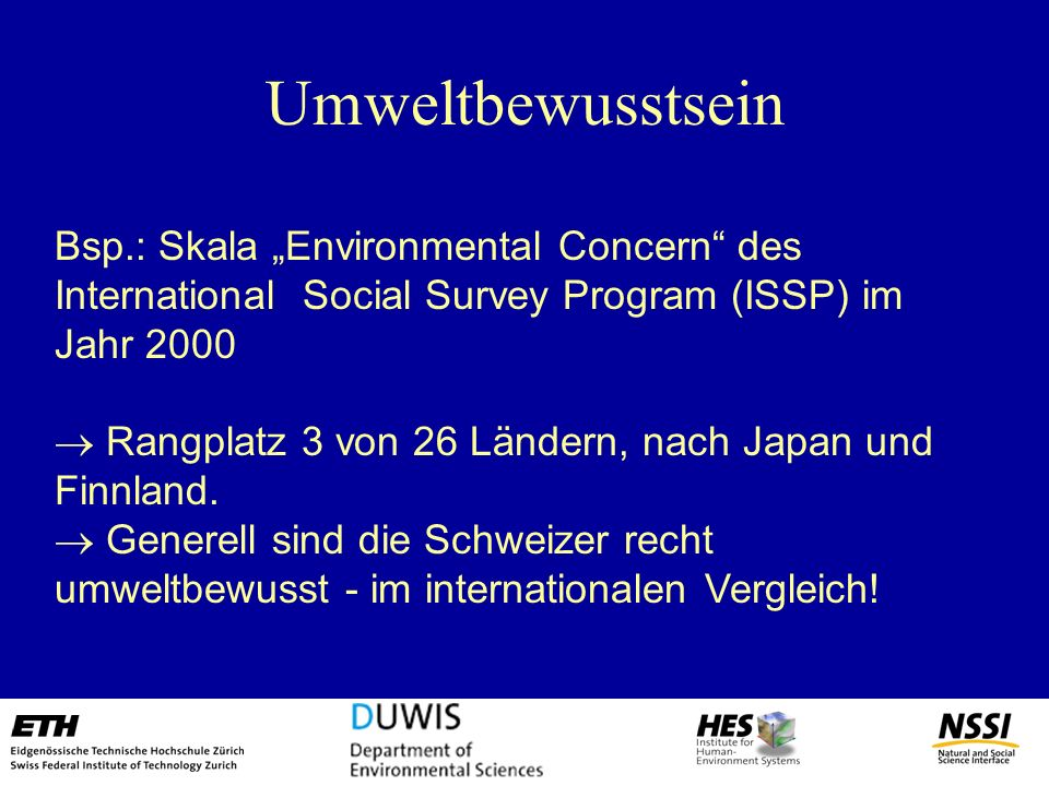 "Umweltbewusstsein Bsp.: Skala ""Environmental Concern des International Social Survey Program (ISSP) im Jahr 2000."