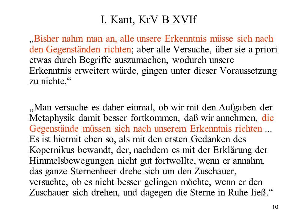 I. Kant, KrV B XVIf