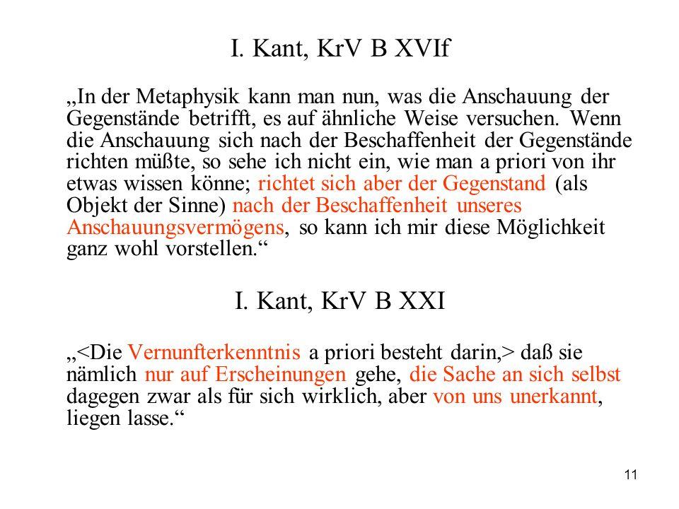I. Kant, KrV B XVIf I. Kant, KrV B XXI