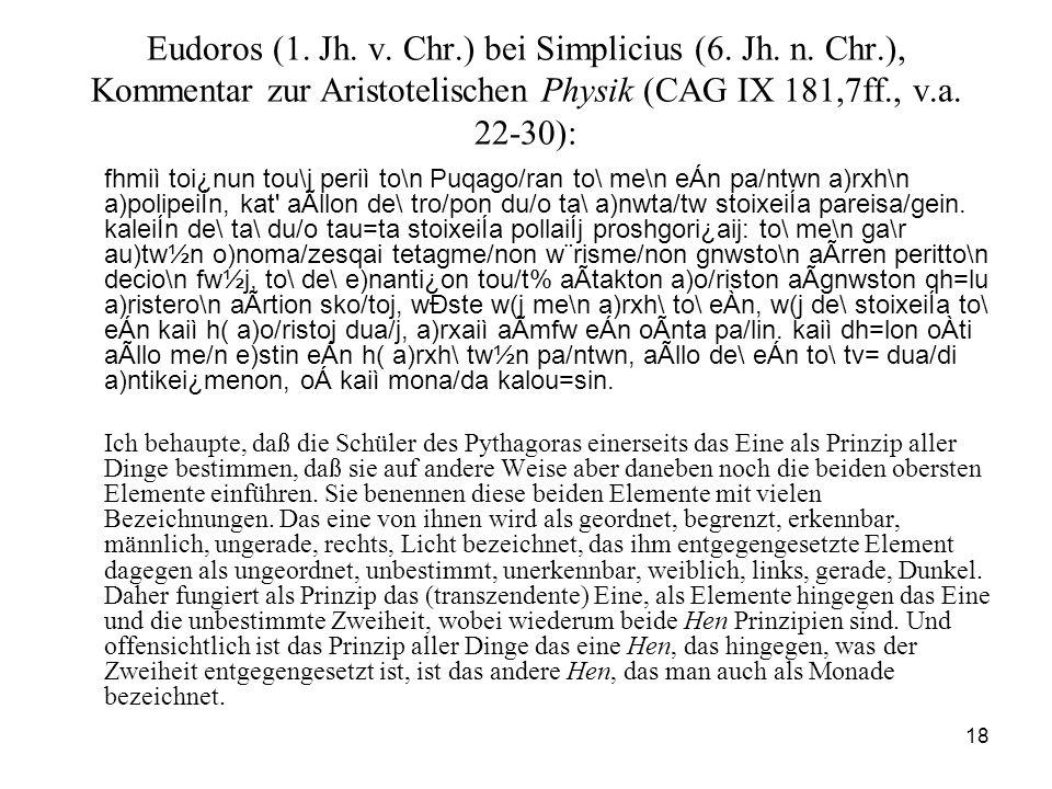 Eudoros (1. Jh. v. Chr. ) bei Simplicius (6. Jh. n. Chr