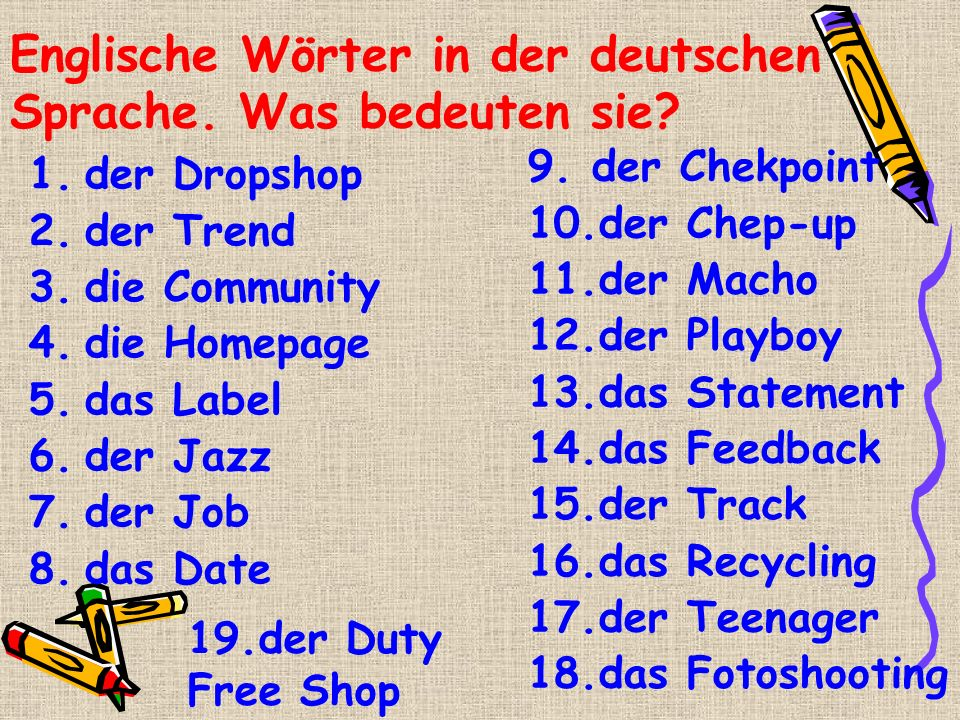 Englische Wörter in der deutschen Sprache. Was bedeuten sie