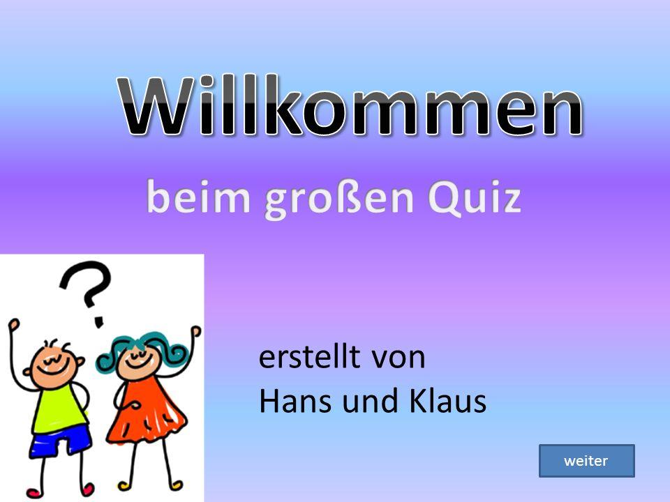 Willkommen beim großen Quiz erstellt von Hans und Klaus weiter