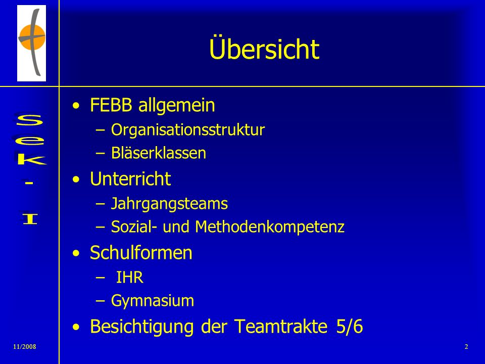 Übersicht FEBB allgemein Unterricht Schulformen