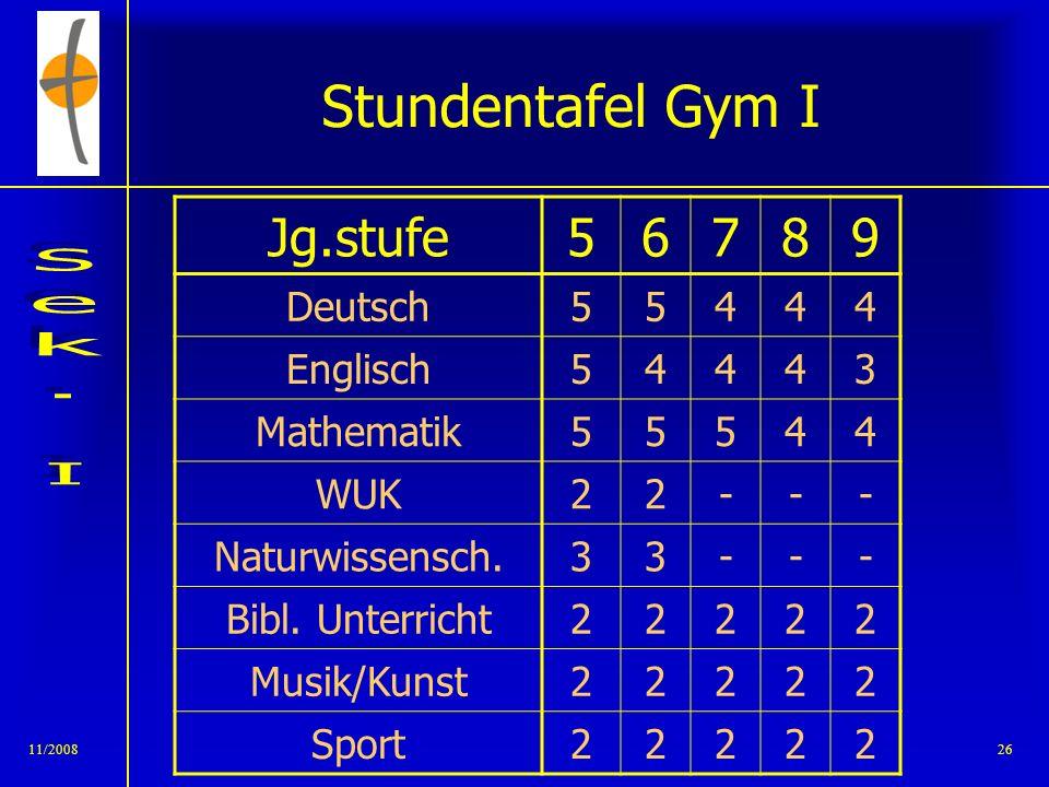 Stundentafel Gym I Jg.stufe 5 6 7 8 9 Deutsch 4 Englisch 3 Mathematik