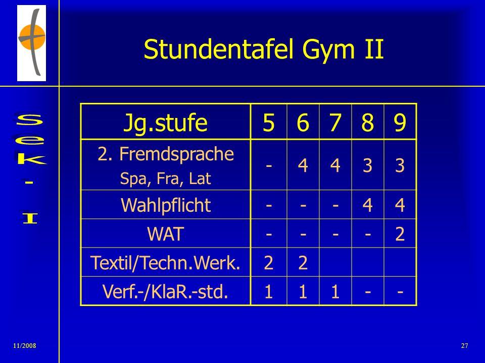 Stundentafel Gym II Jg.stufe 5 6 7 8 9 2. Fremdsprache - 4 3