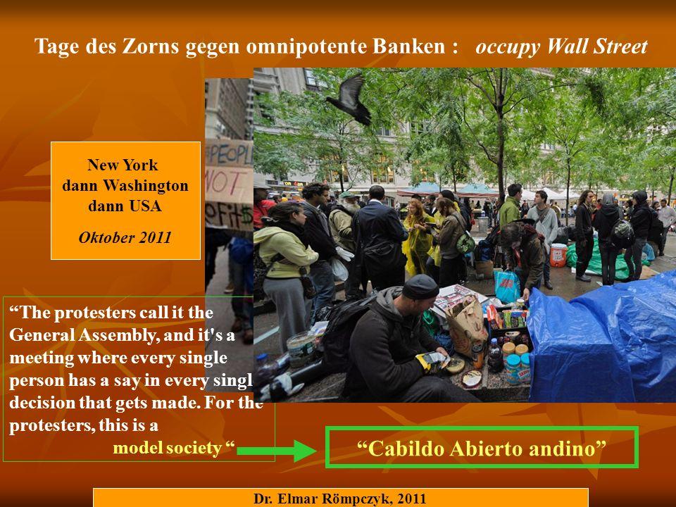 Tage des Zorns gegen omnipotente Banken : occupy Wall Street