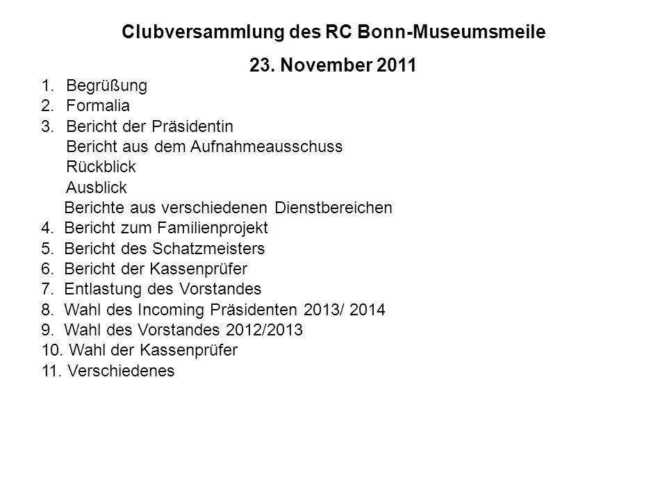 Clubversammlung des RC Bonn-Museumsmeile