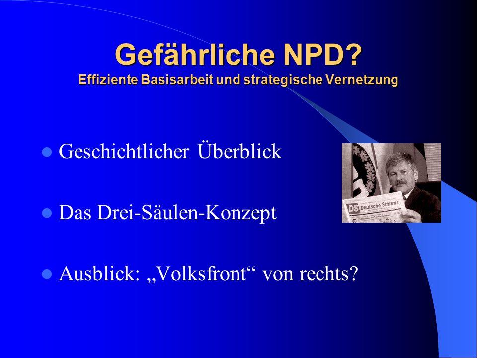 Gefährliche NPD Effiziente Basisarbeit und strategische Vernetzung