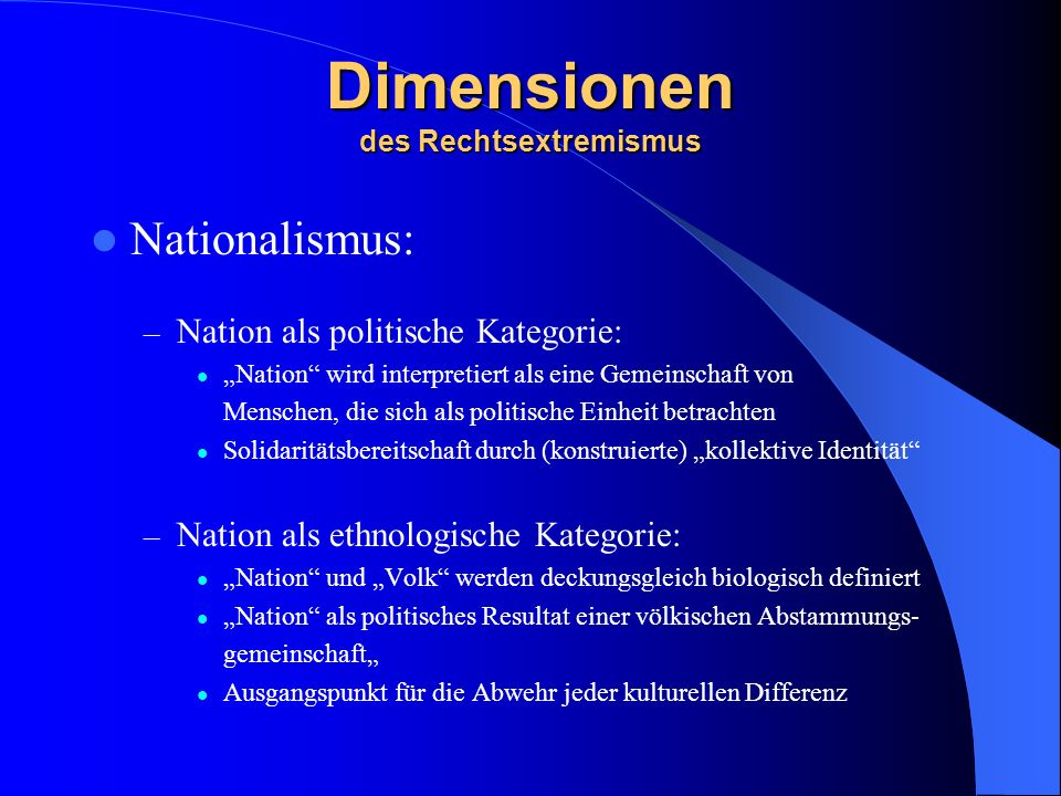 Dimensionen des Rechtsextremismus