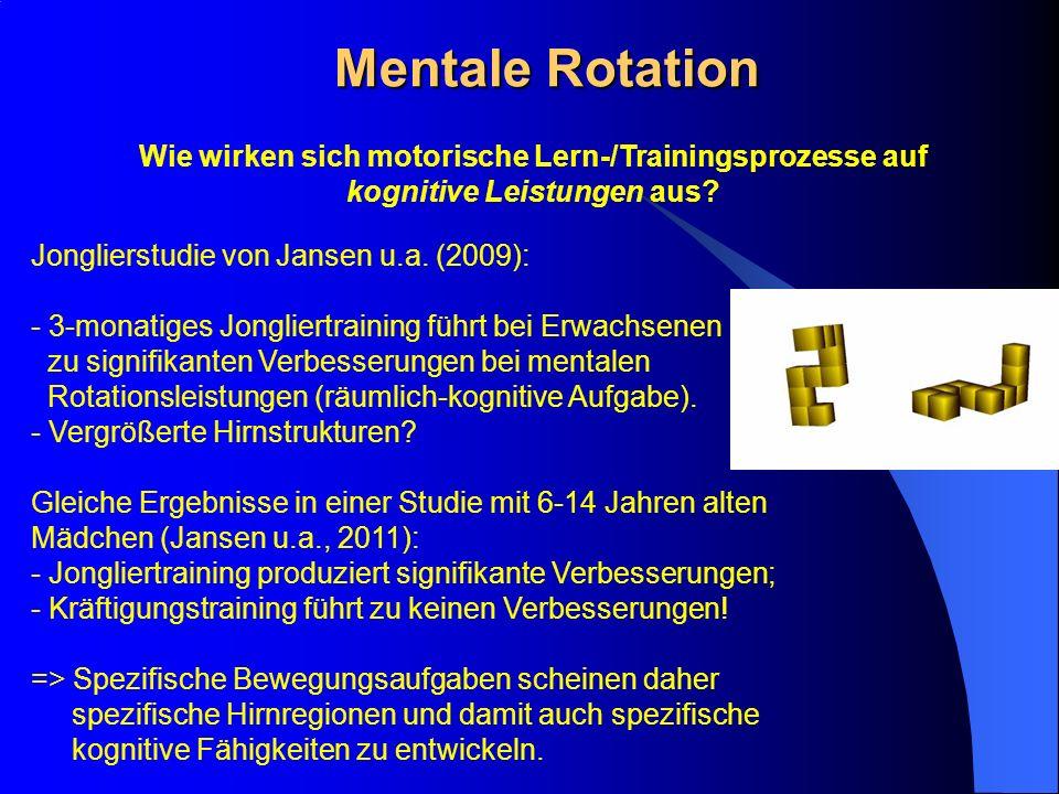 Mentale Rotation Wie wirken sich motorische Lern-/Trainingsprozesse auf. kognitive Leistungen aus