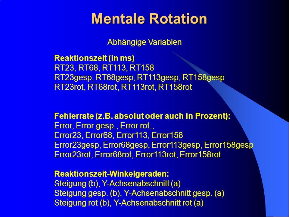 Mentale Rotation Abhängige Variablen Reaktionszeit (in ms)