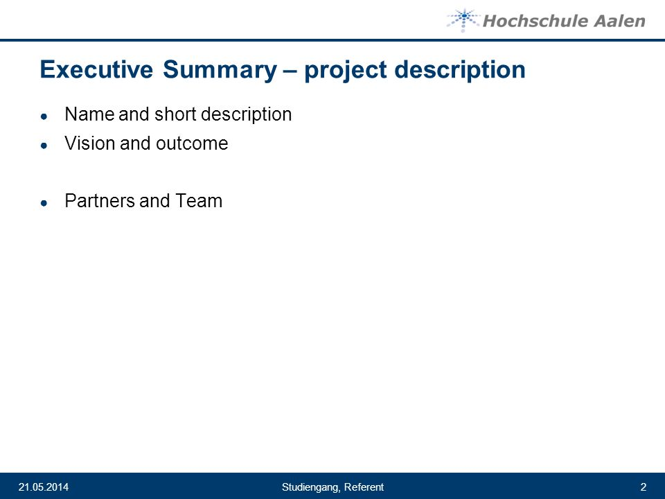 Executive Summary – project description