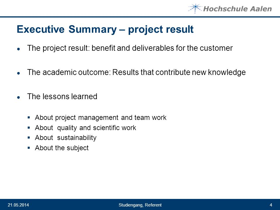 Executive Summary – project result