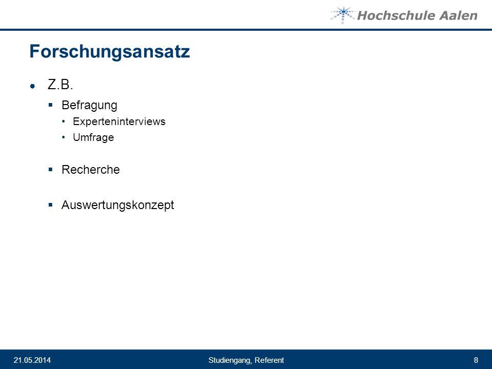Forschungsansatz Z.B. Befragung Recherche Auswertungskonzept
