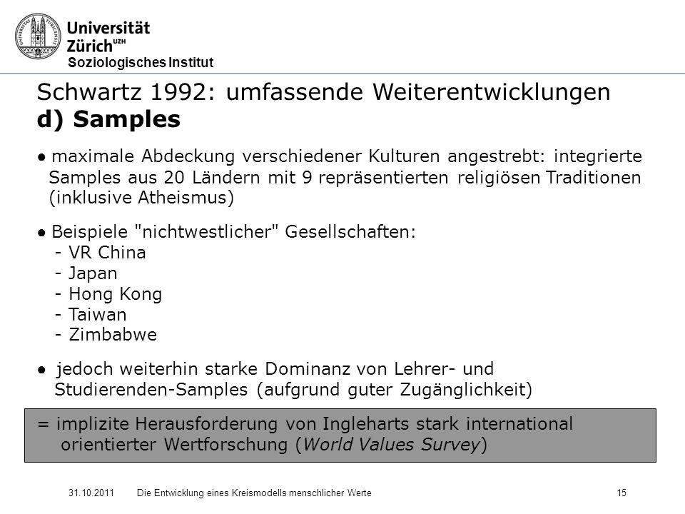 Schwartz 1992: umfassende Weiterentwicklungen d) Samples