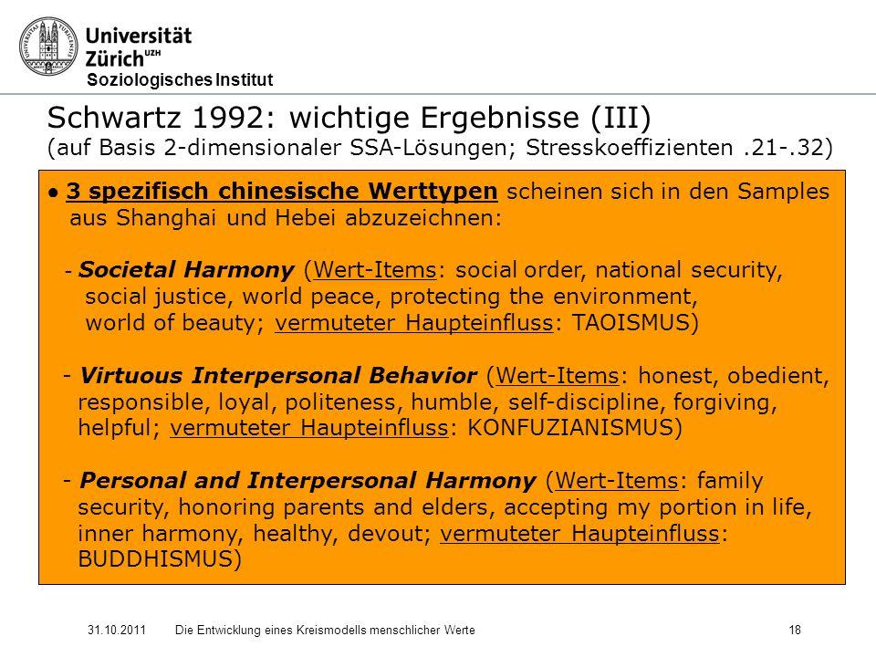 Schwartz 1992: wichtige Ergebnisse (III)