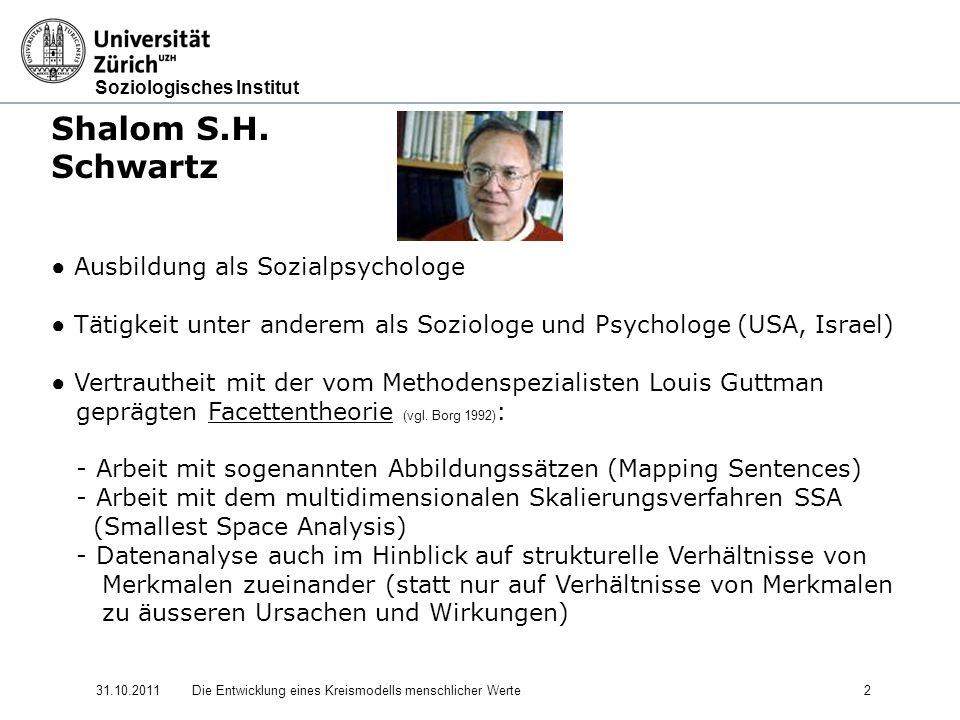 Shalom S.H. Schwartz ● Ausbildung als Sozialpsychologe