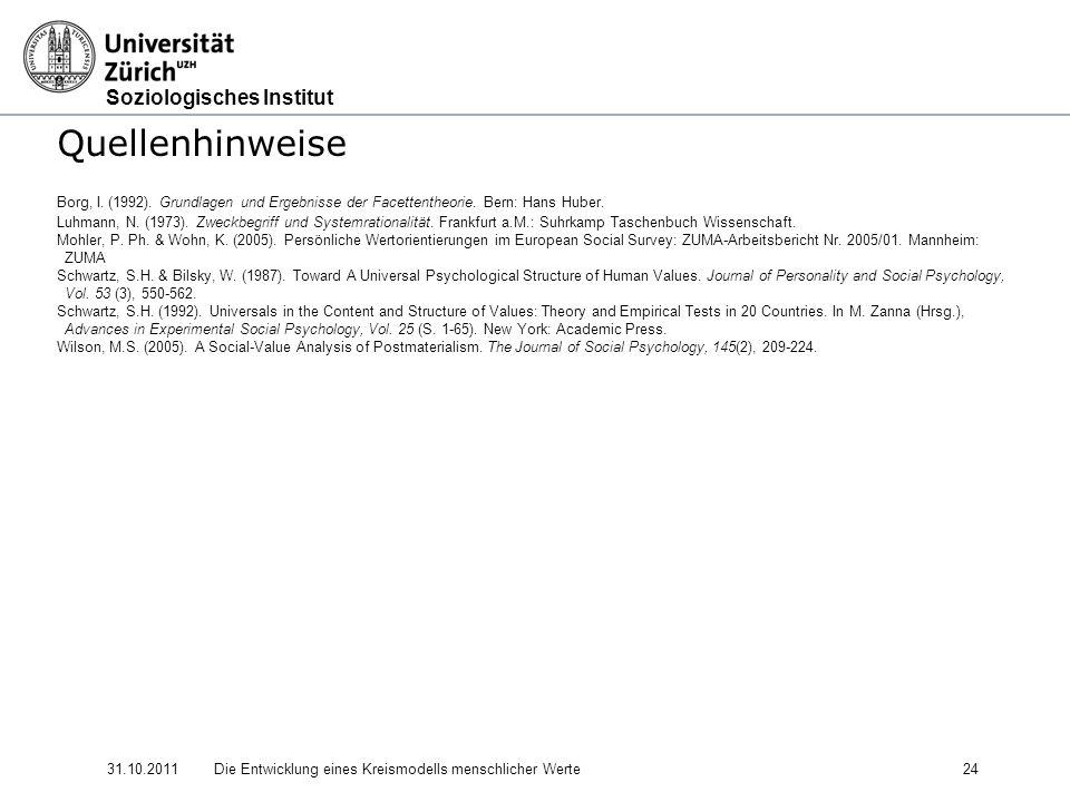Quellenhinweise Borg, I. (1992). Grundlagen und Ergebnisse der Facettentheorie. Bern: Hans Huber.