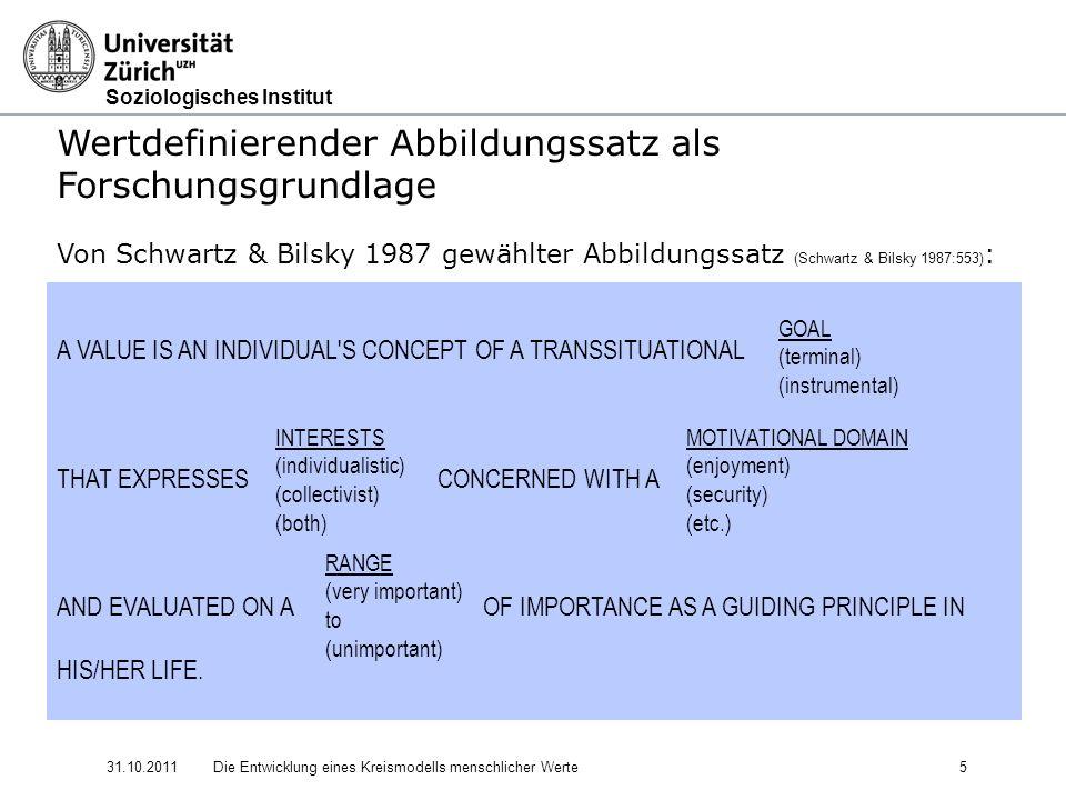 Wertdefinierender Abbildungssatz als Forschungsgrundlage