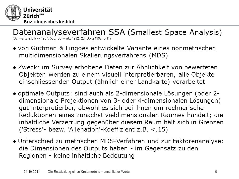 Datenanalyseverfahren SSA (Smallest Space Analysis)