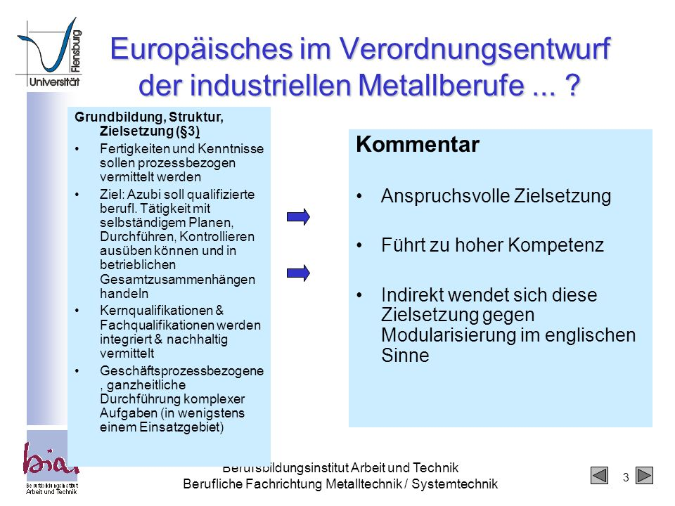 Europäisches im Verordnungsentwurf der industriellen Metallberufe ...