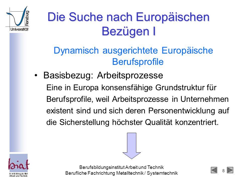 Die Suche nach Europäischen Bezügen I