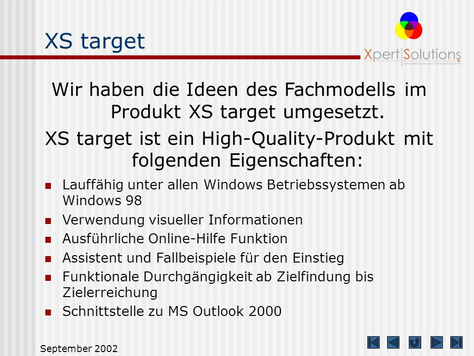XS target Wir haben die Ideen des Fachmodells im Produkt XS target umgesetzt. XS target ist ein High-Quality-Produkt mit folgenden Eigenschaften: