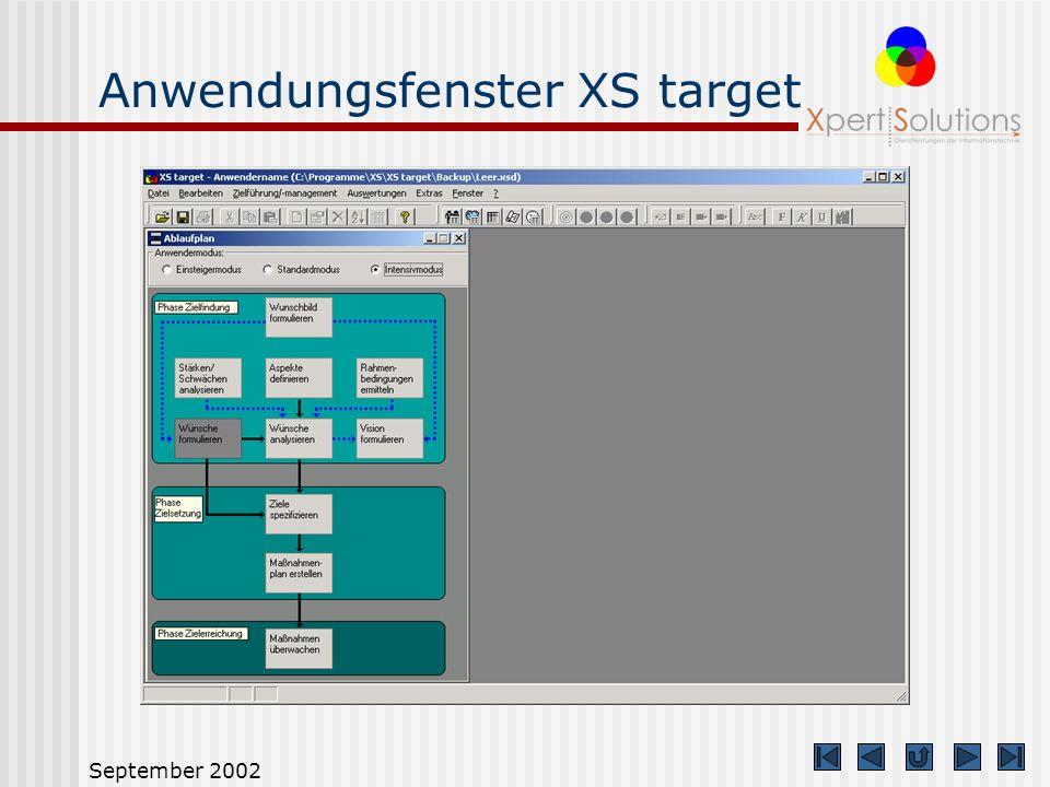 Anwendungsfenster XS target