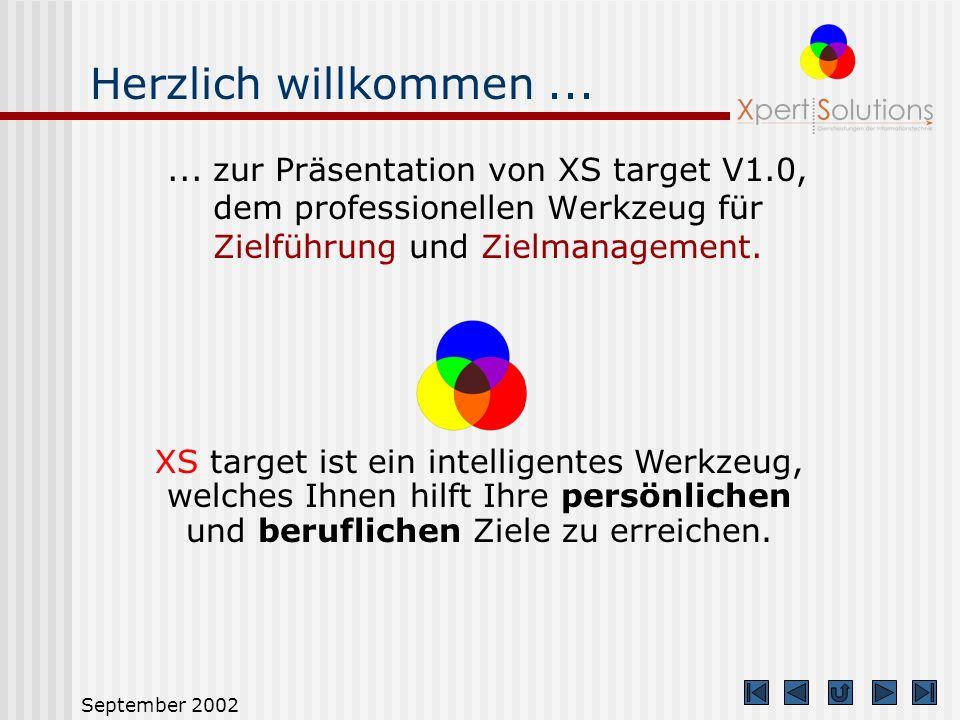 Herzlich willkommen ... ... zur Präsentation von XS target V1.0, dem professionellen Werkzeug für Zielführung und Zielmanagement.