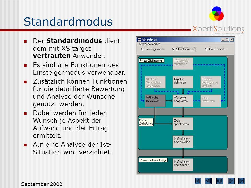 Standardmodus Der Standardmodus dient dem mit XS target vertrauten Anwender. Es sind alle Funktionen des Einsteigermodus verwendbar.