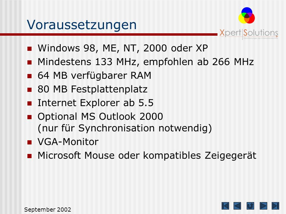 Voraussetzungen Windows 98, ME, NT, 2000 oder XP