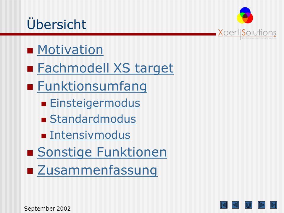 Übersicht Motivation Fachmodell XS target Funktionsumfang