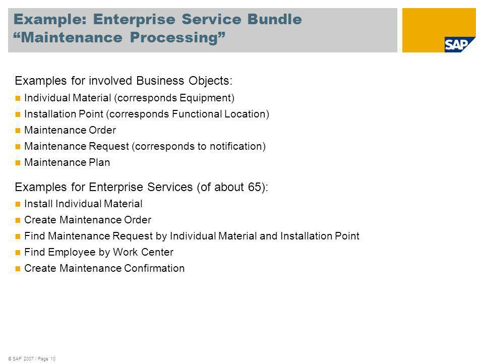 Example: Enterprise Service Bundle Maintenance Processing
