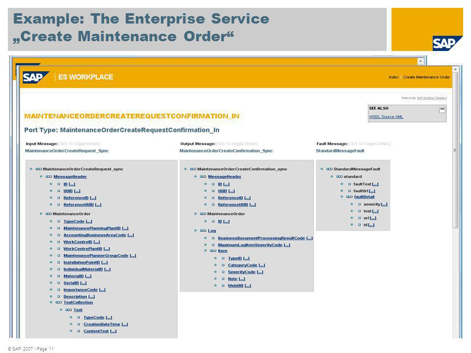 "Example: The Enterprise Service ""Create Maintenance Order"