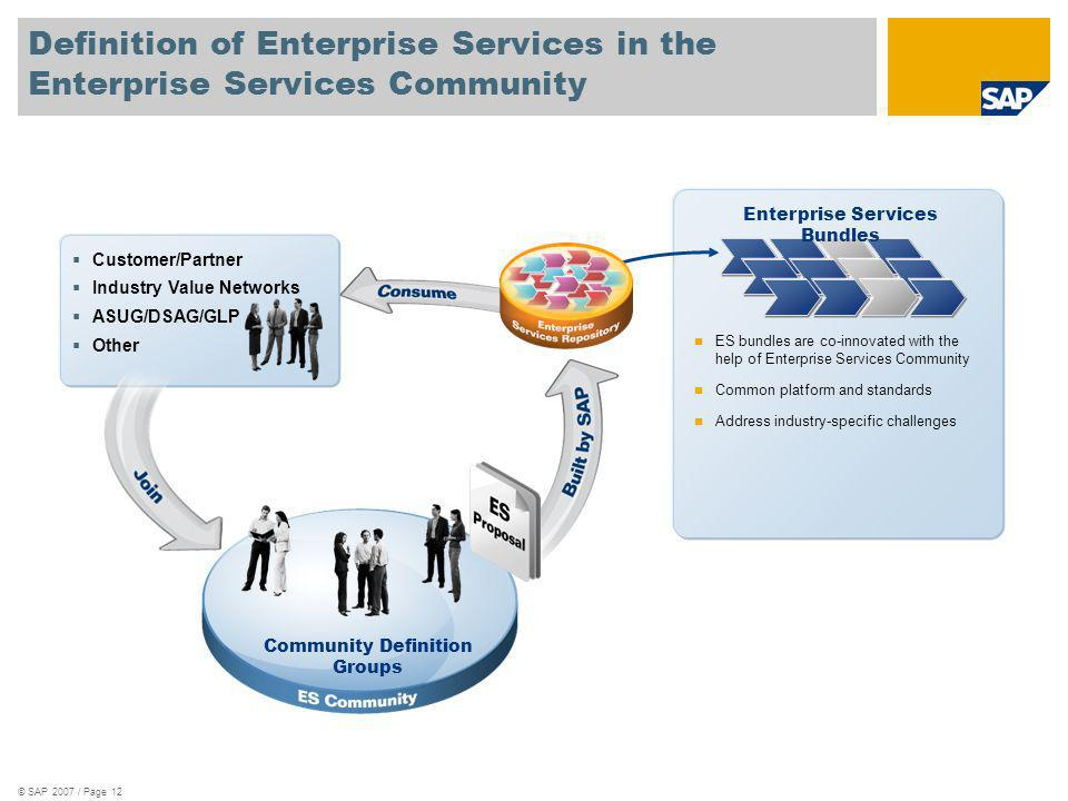 Definition of Enterprise Services in the Enterprise Services Community