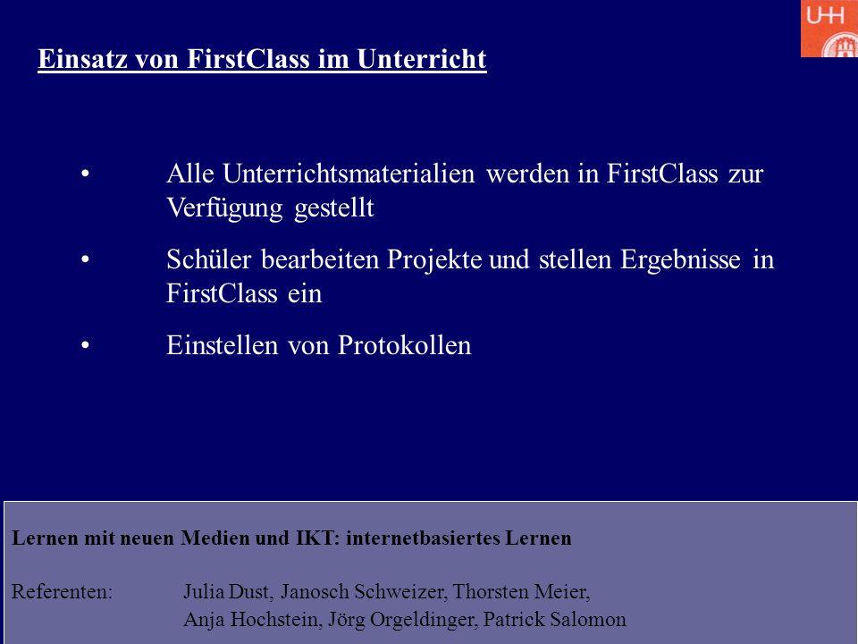 Einsatz von FirstClass im Unterricht
