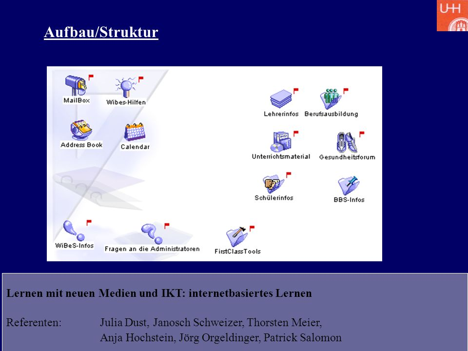 Aufbau/Struktur Lernen mit neuen Medien und IKT: internetbasiertes Lernen. Referenten: Julia Dust, Janosch Schweizer, Thorsten Meier,