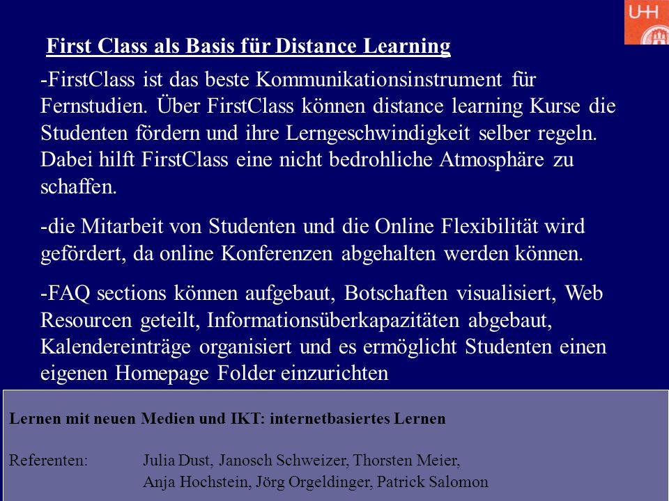 First Class als Basis für Distance Learning