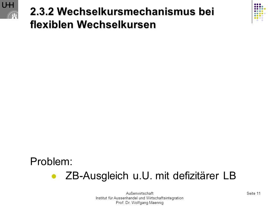 2.3.2 Wechselkursmechanismus bei flexiblen Wechselkursen