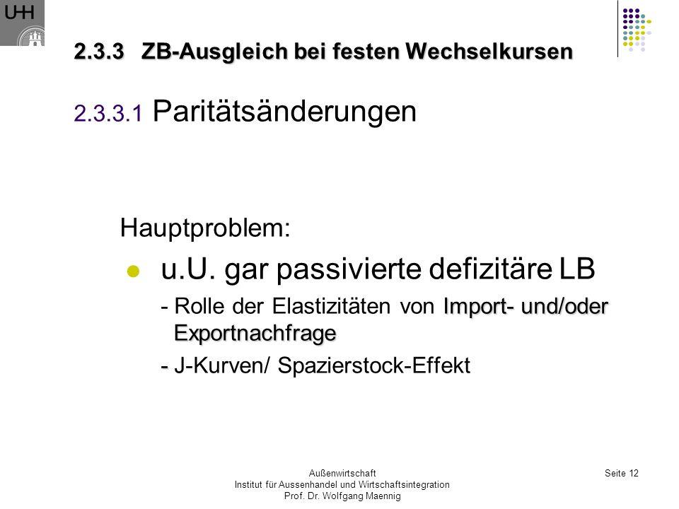 2.3.3 ZB-Ausgleich bei festen Wechselkursen