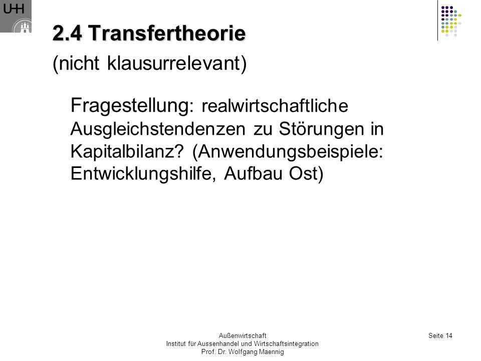 2.4 Transfertheorie (nicht klausurrelevant)