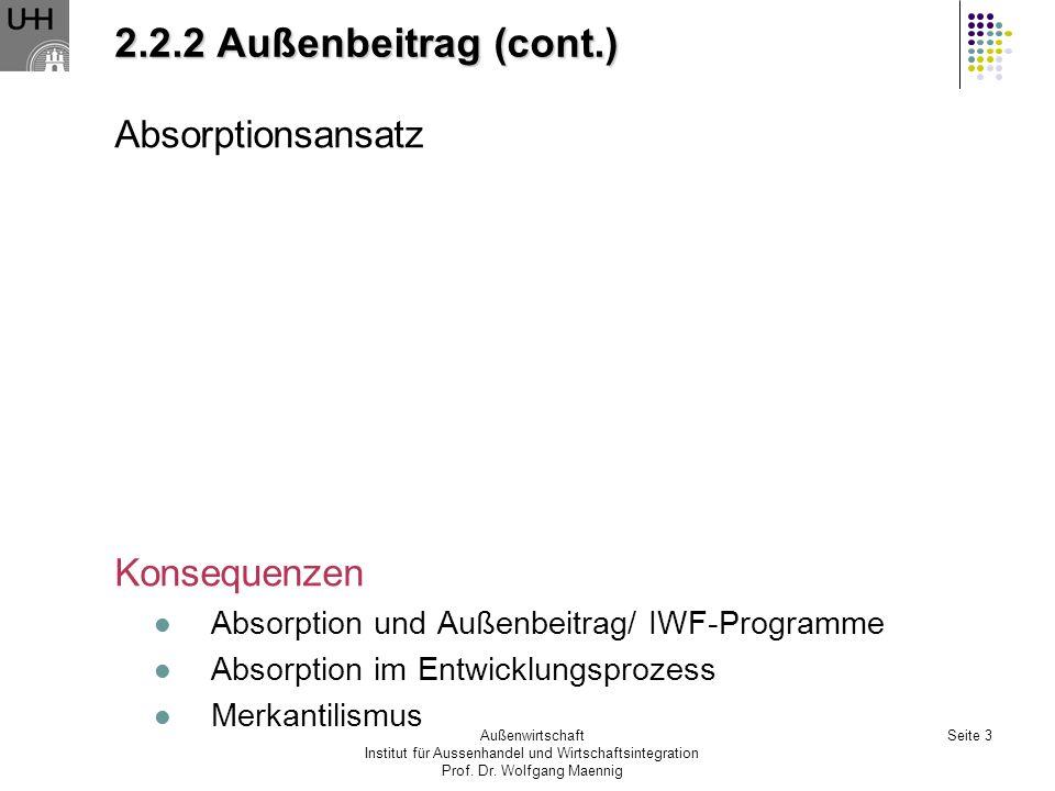 2.2.2 Außenbeitrag (cont.) Absorptionsansatz Konsequenzen