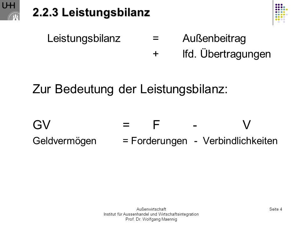 Zur Bedeutung der Leistungsbilanz: GV = F - V
