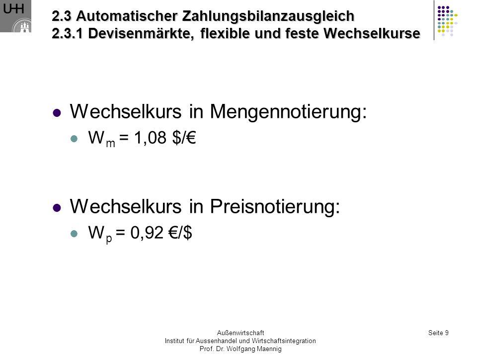 Wechselkurs in Mengennotierung: