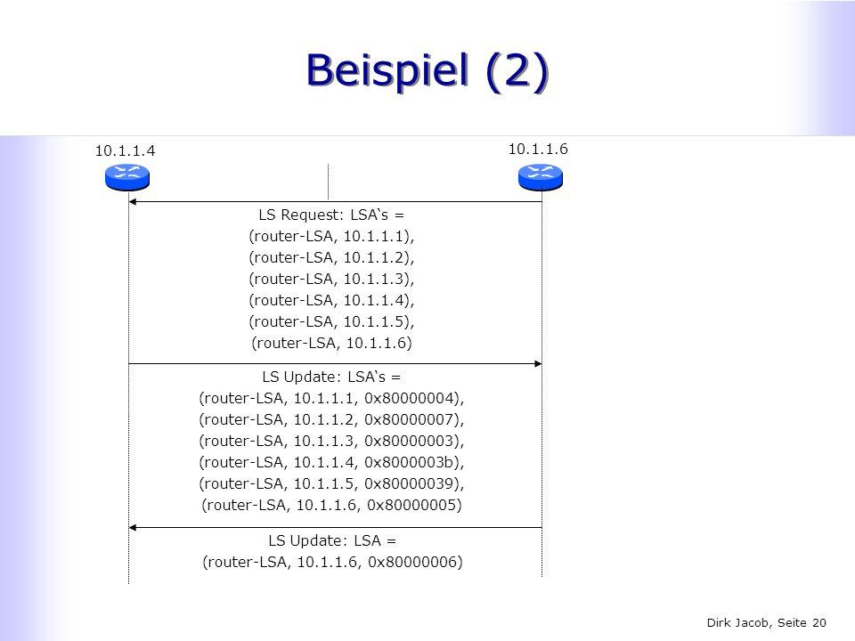 Beispiel (2) 10.1.1.4 10.1.1.6 LS Request: LSA's =