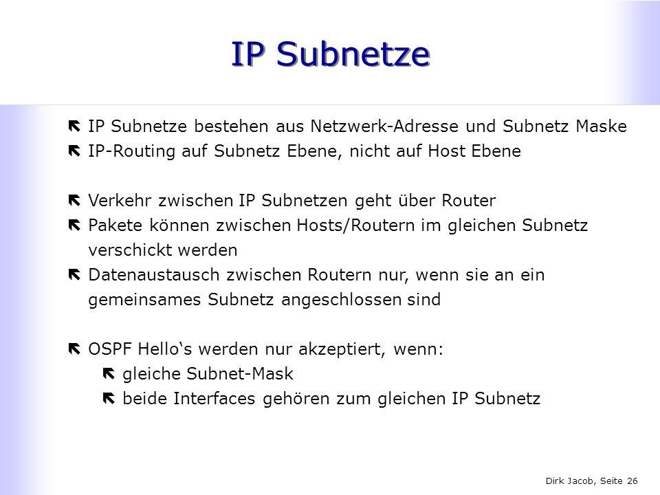 IP Subnetze IP Subnetze bestehen aus Netzwerk-Adresse und Subnetz Maske. IP-Routing auf Subnetz Ebene, nicht auf Host Ebene.