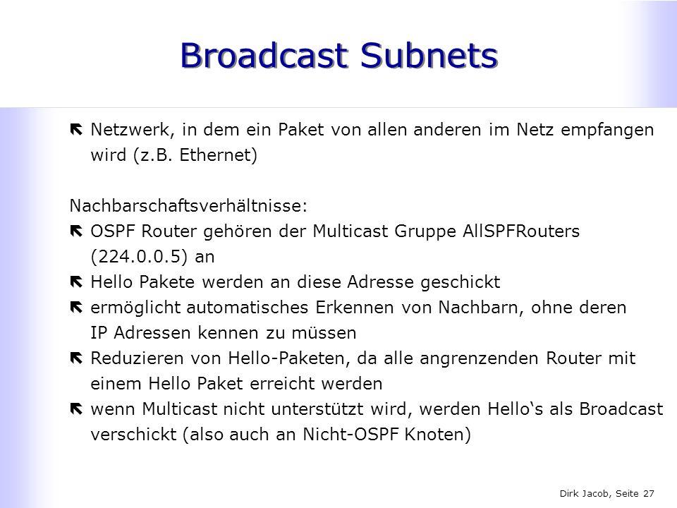 Broadcast Subnets Netzwerk, in dem ein Paket von allen anderen im Netz empfangen wird (z.B. Ethernet)
