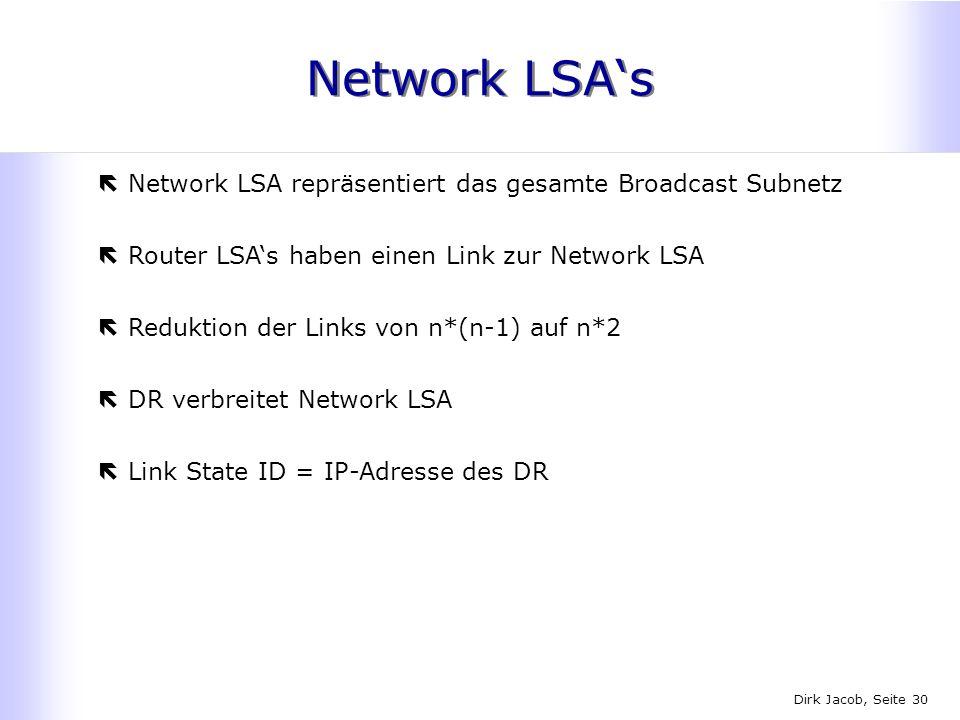 Network LSA's Network LSA repräsentiert das gesamte Broadcast Subnetz